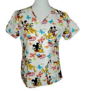 Disney V-neck Mickey Pluto Scrub Top Nurse XS